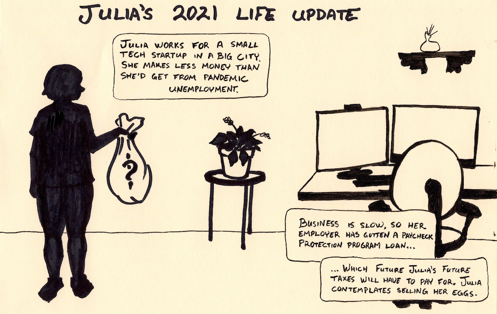 """""""Julia works for a small tech startup in a big city. She makes less money than she'd get from pandemic unemployment. Business is slow, so her employer has gotten a Paycheck Protection Program loan… which Future Julia's future taxes will have to pay for. Julia contemplates selling her eggs."""""""